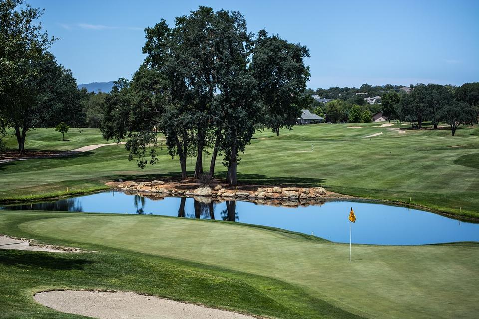 golf course, sports, pond