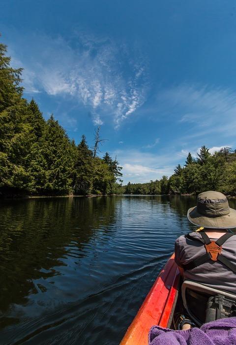kayak, river, nature