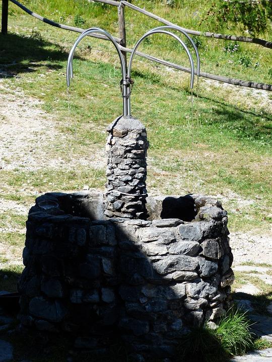 fountain, stone fountain, water
