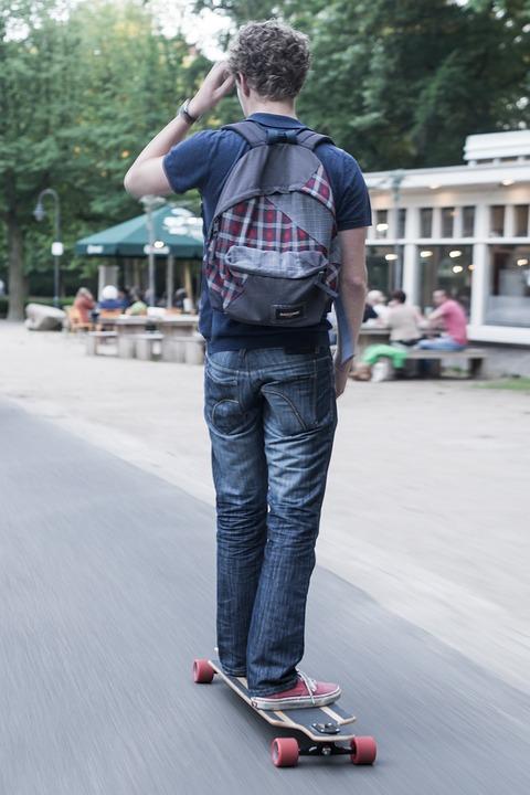 skateboard, park, man