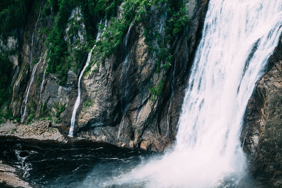 waterfalls, river, water
