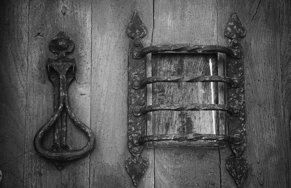 door, wrought iron, metal