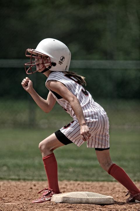softball, runner, girl