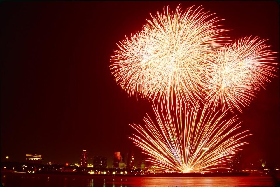 fireworks, skyline, silhouette