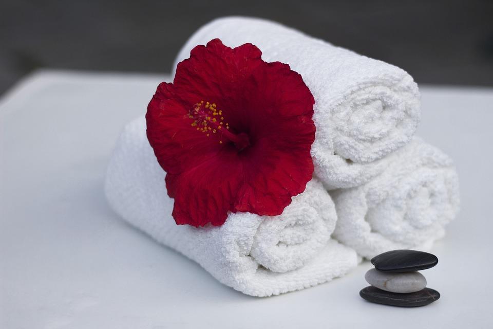 towel, hibiscus, clean