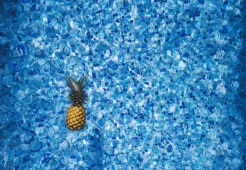 pineapple, pool, water