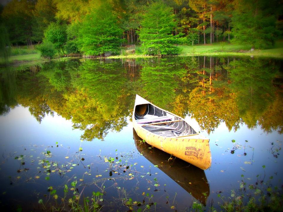 canoe, water, nature