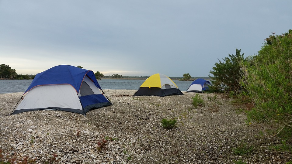 tent, camping, beach