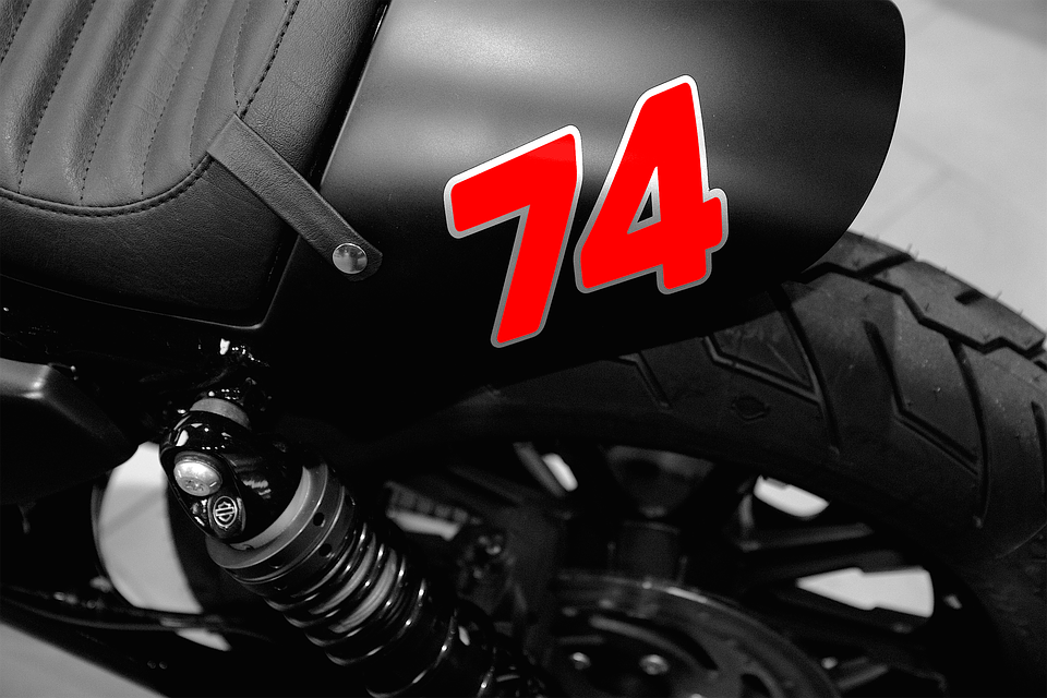 motorcycle, red, number