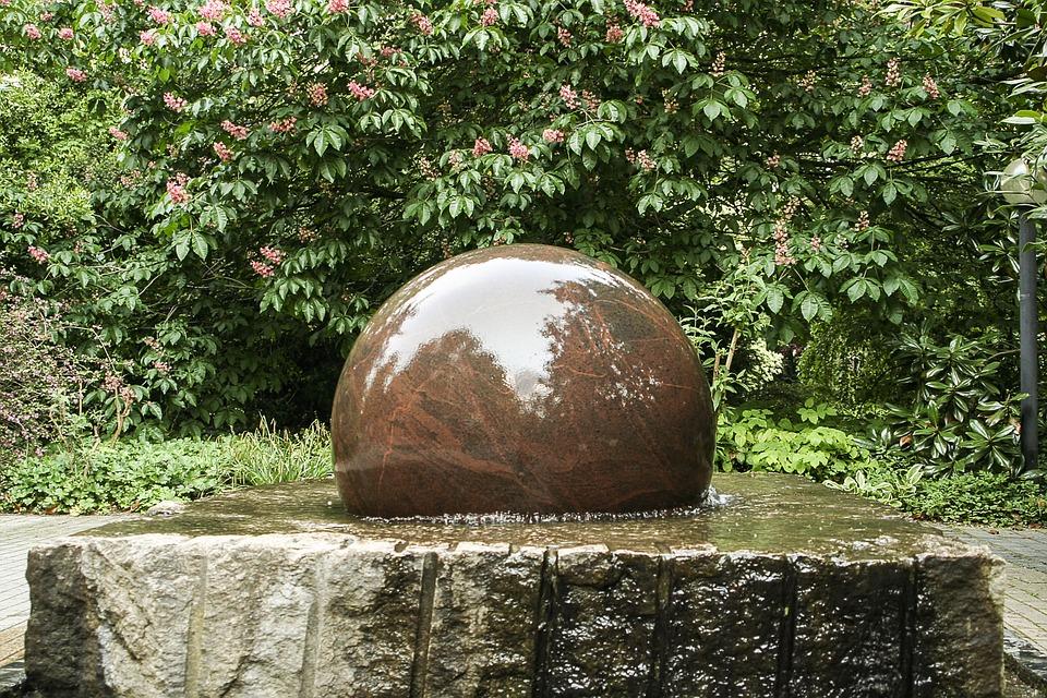 fountain, decorative fountains, stone ball
