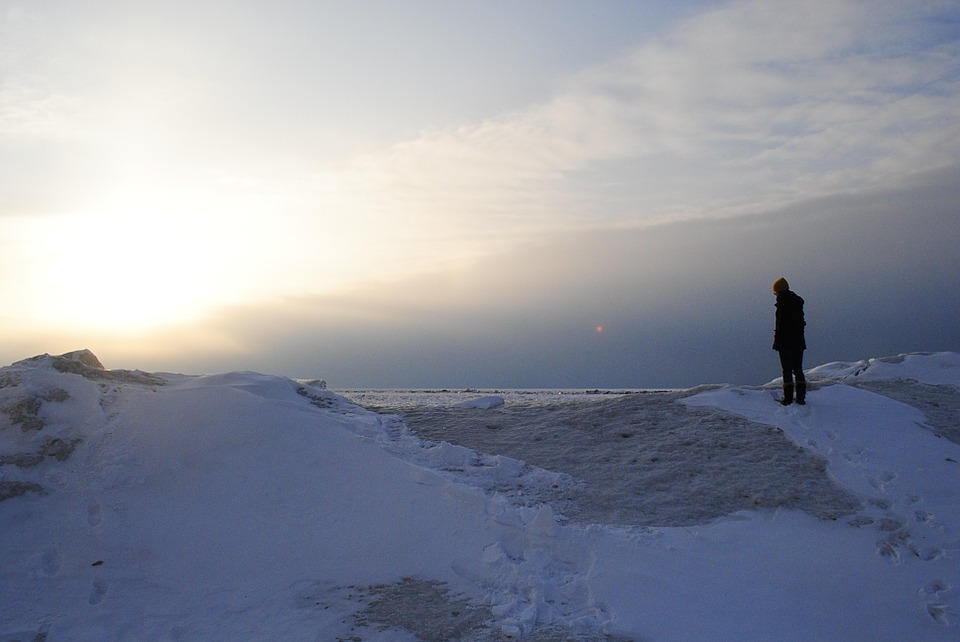 snow, winter, footprints