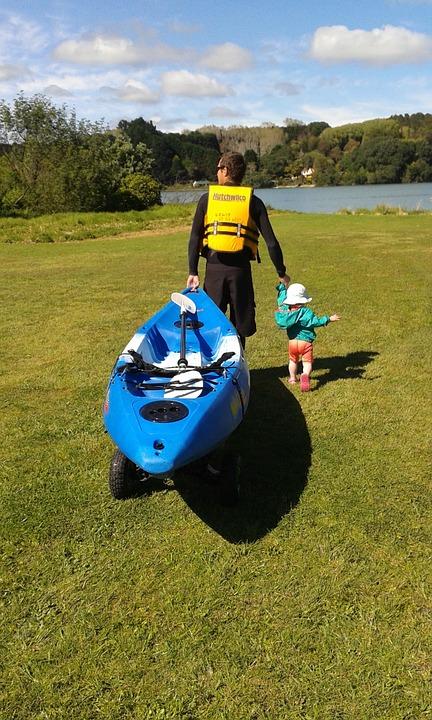 kayak, outdoors, child