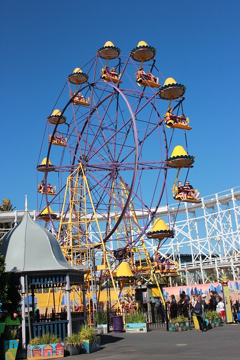 ferris wheel, amusement park, tourist attraction
