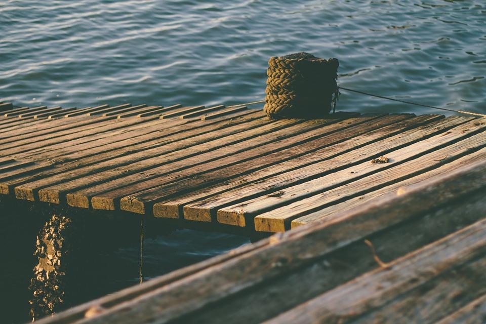 wood, dock, rope
