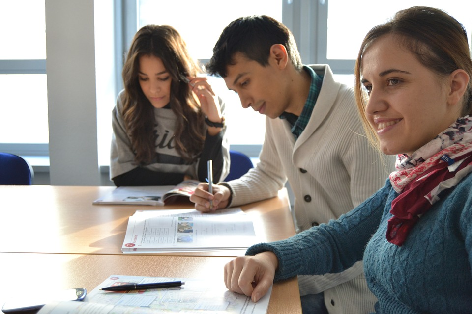 students, multicultural, language school