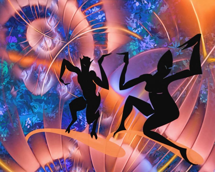 surreal, abstract, dancing