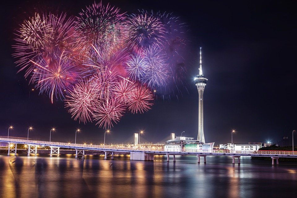fireworks, macau, tower