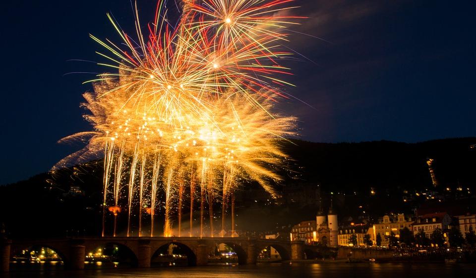 fireworks, heidelberg, castle
