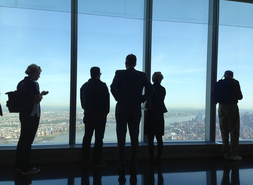one world trade center, view, people