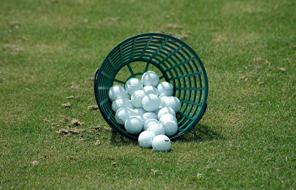 golf balls, driving range, basket