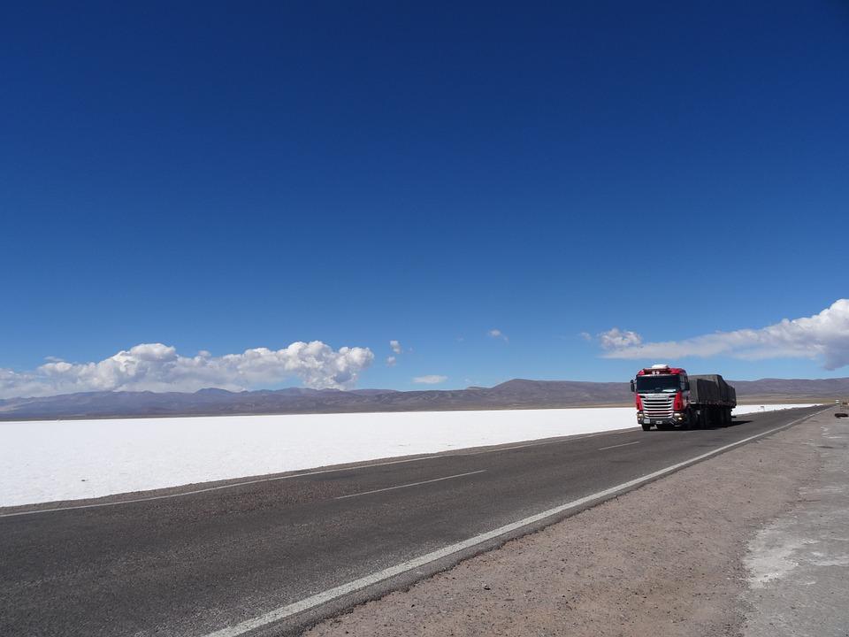 salt mines, desert, truck