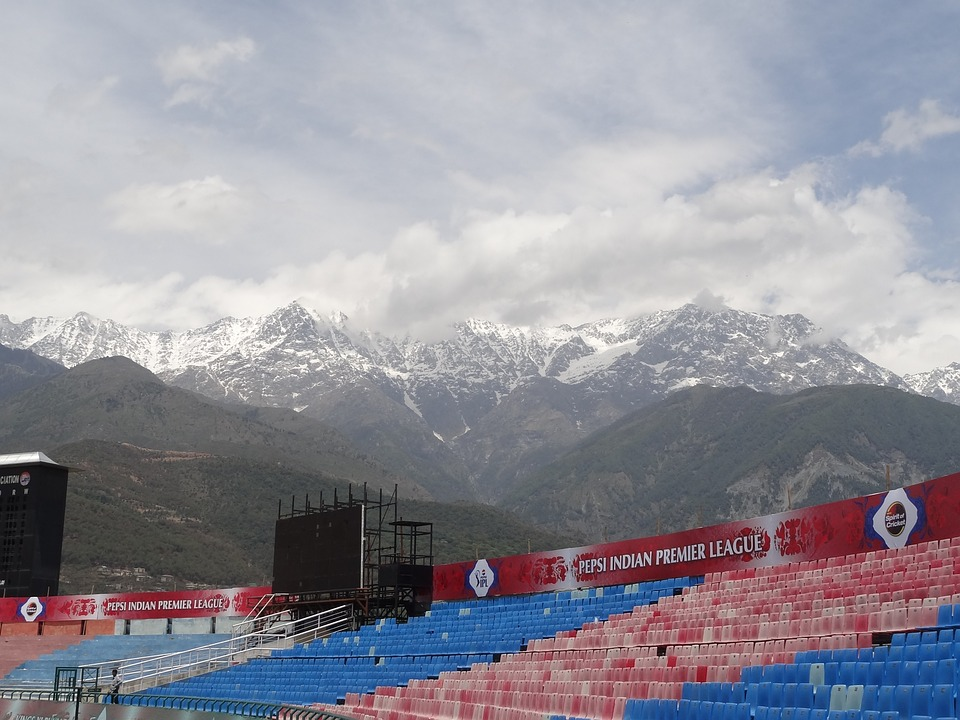 snow mountains, dharamsala, cricket ground