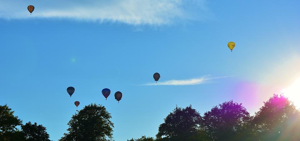 hot air balloons, blue, sky