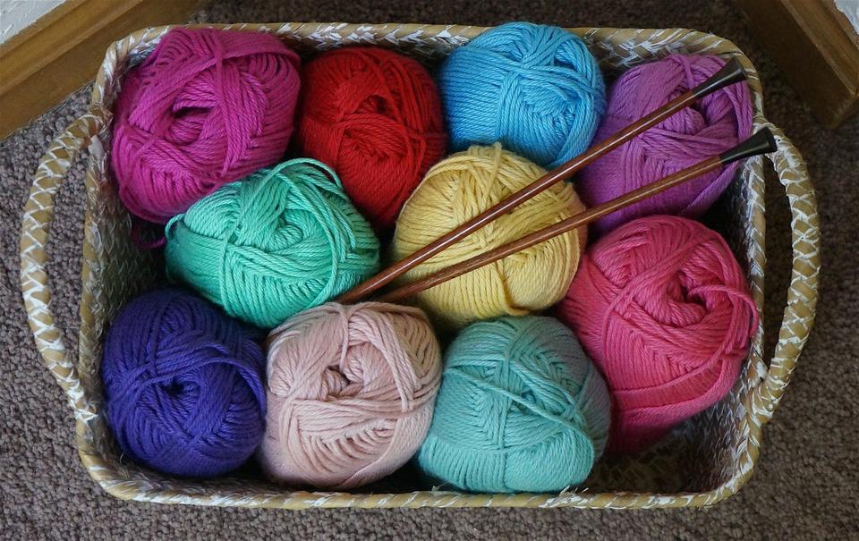 cotton baby yarn, knitting, knitting needles