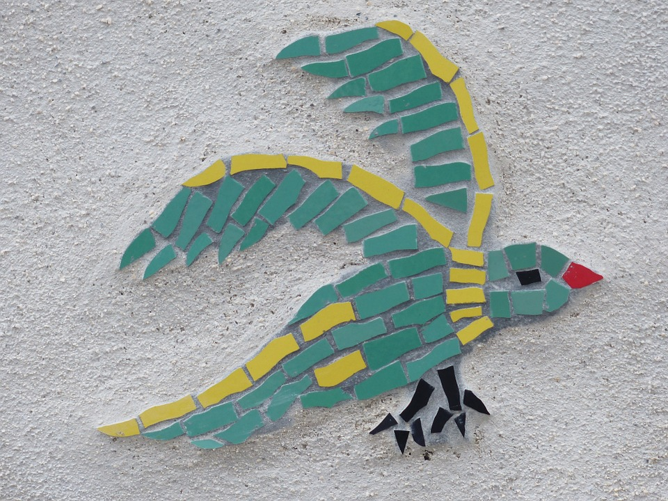 bird, mosaic, colorful