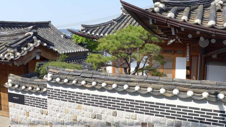 korean house village, classical architecture, grey tile