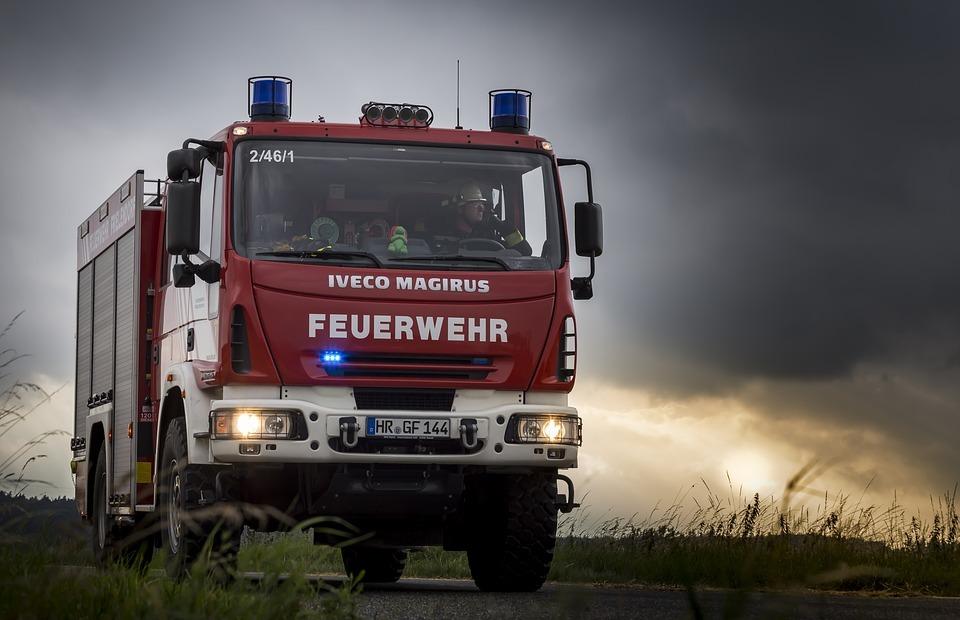 fire truck, blue light, landscape