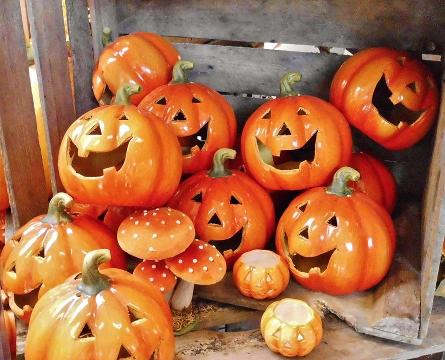 halloween, pumpkins, box