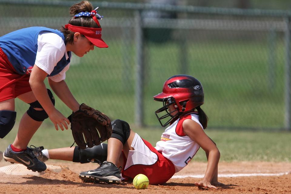 softball, action, sliding