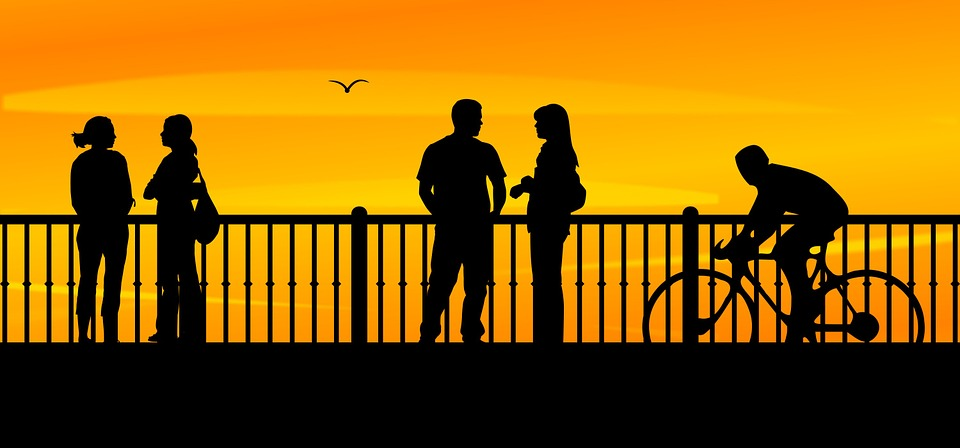 bridge, sunset, people