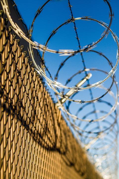 concertina wire, fence, concertina