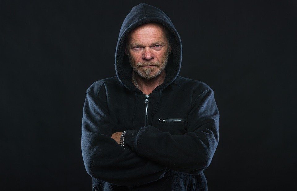 angry, man, hoodie