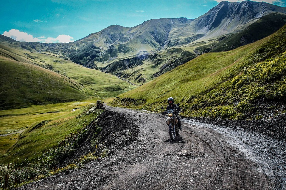 motorcycle, mountain road, landscape