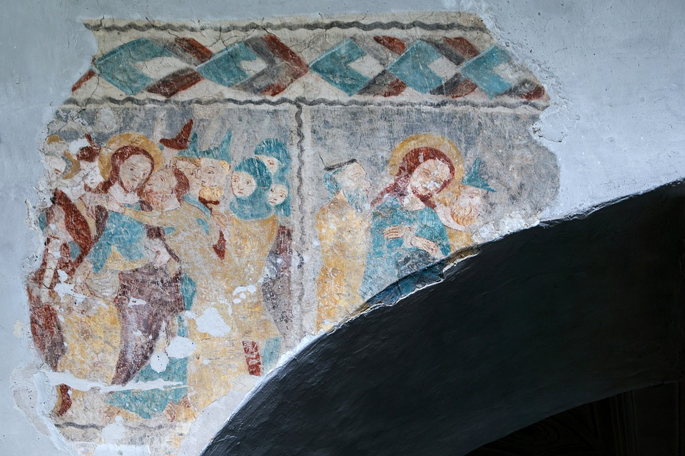 jesus, fresco, mural
