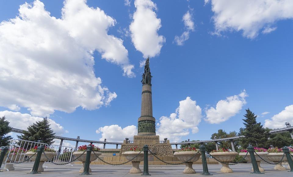 blue sky, sculpture, memorial tower