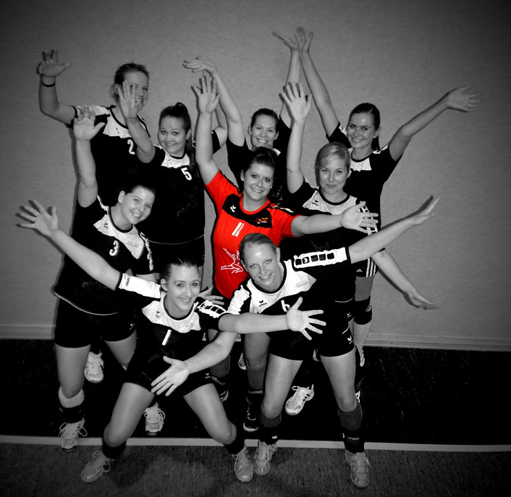 volleyball, team, cheers