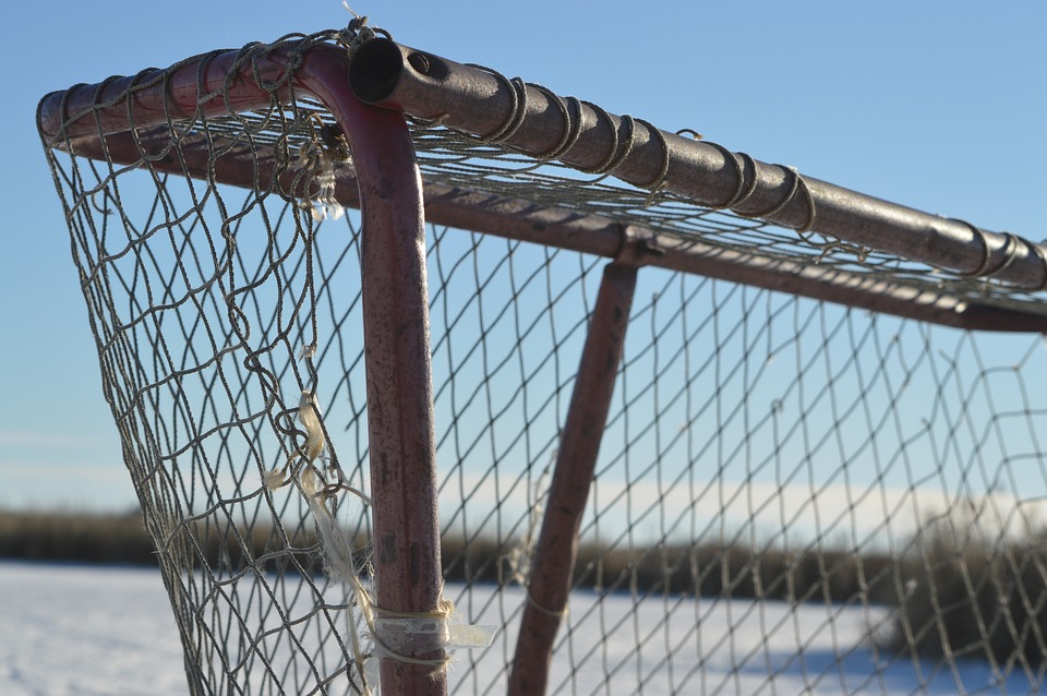 hockey net, ice, pond