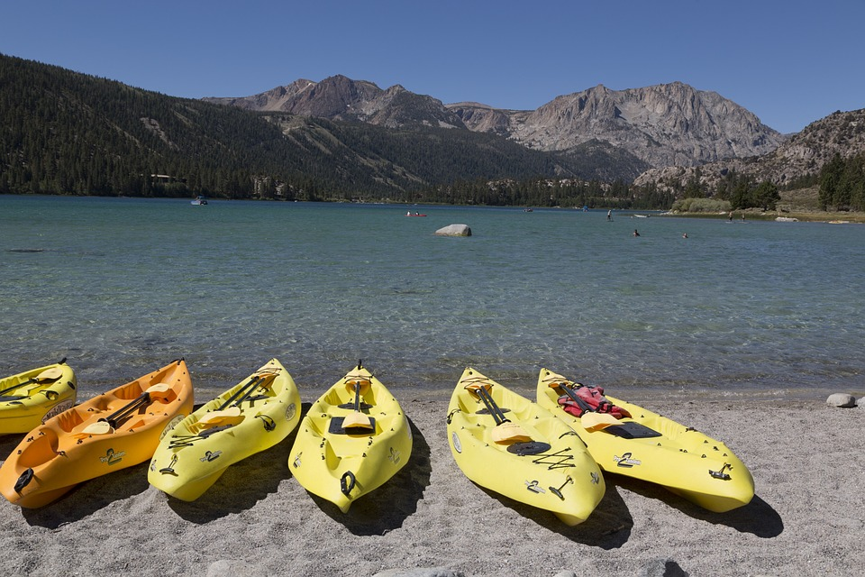 kayaks, beach, shore