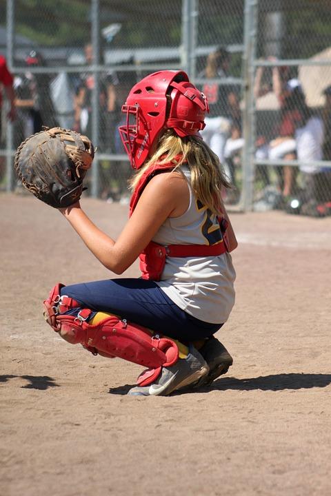 softball, catcher, girl