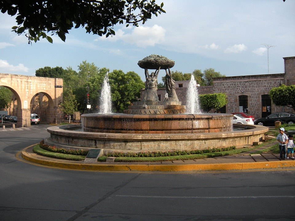 water fountain, architecture, colonial