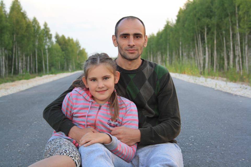 road, family, man