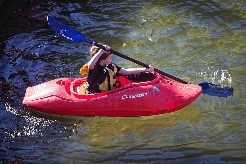 kayak, river, child