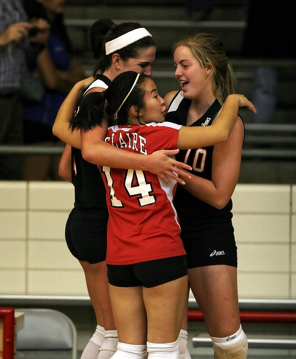 volleyball, team, celebration