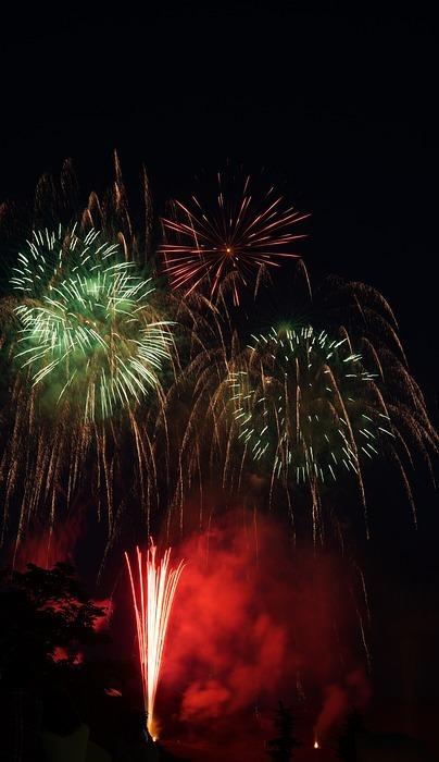 fireworks, summer in japan, night