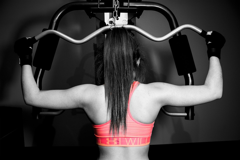 workout, girl, weights