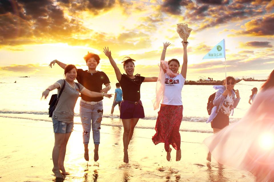 beach, girls, women
